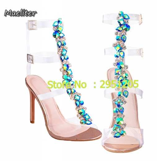Latest Women Open Toe T-Strap Gold Silver gladiator Sandals Crystal  Transparent Clear High Heel 9981c0572c05