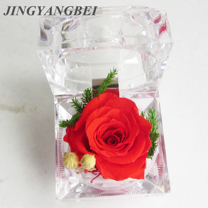 Flowers For Wedding Gift: 1pcs Natural Dried Flower Ring Box Multicolor Rose With