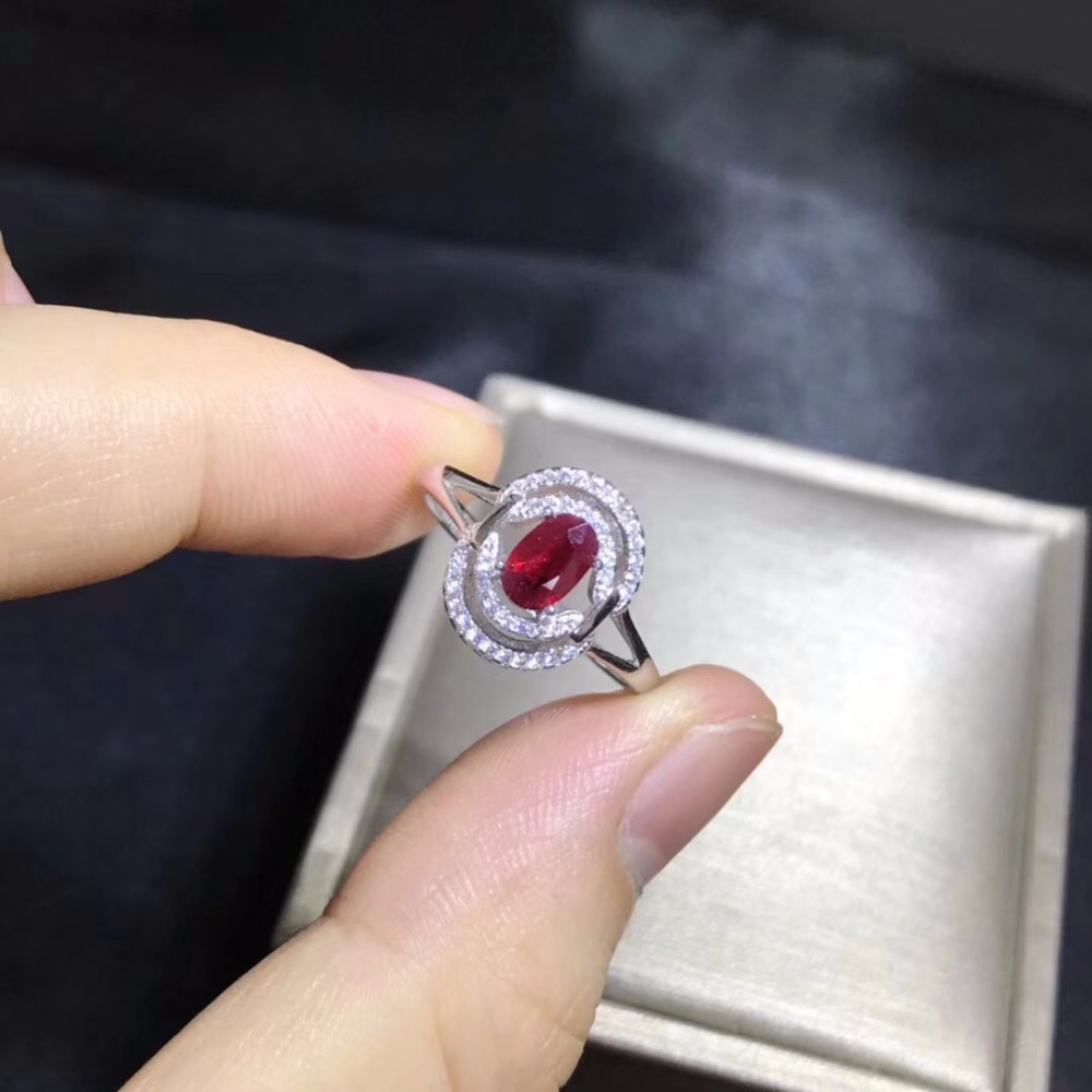 Natural Ruby Ring, 925 Silver Exquisite Style, Best Selling Quality, Classic Style