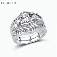 PRCOLUX Vintage Female Geometric Ring Set 925 Sterling Silver Jewelry White CZ Wedding Engagement Rings For