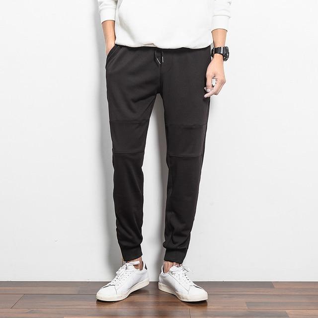 Simple Estilo de Los Hombres Largos Pantalones Casuales Cremallera Vinculante pies Pantalones streetwear hiphop Pantalones Sueltos de Algodón Pantalones Moda Equipada