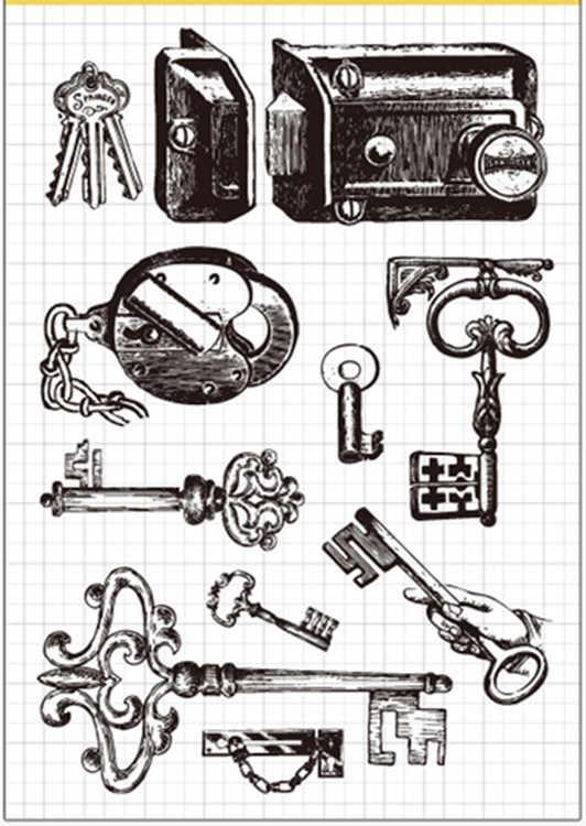 Vintage serrure clé en caoutchouc Transparent tampon clair/joint Scrapbook/album de bricolage Photo carte décorative faisant des timbres clairs