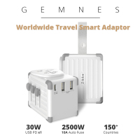 4000W Worldwide Smart Travel Adapter Universal Multi Socket 42W USB PD Type C Charger EU US UK AU Plug EX300 for Phone iPad