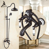 Free Shipping Euro Style Oil Rubbed Bronze Finish Dual Handle Brass Bath Shower Faucet With Slide