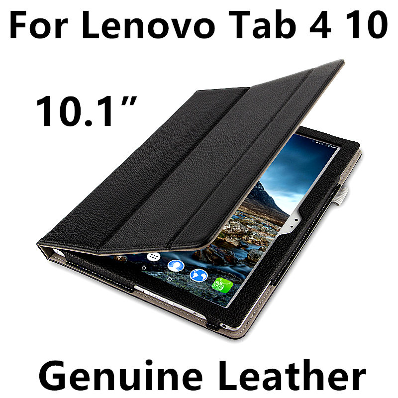 Case Cowhide For Lenovo Tab 4 10 Genuine Leather Tab410 Protective Protector Smart Cover PU X304F N TB-X304L Tablet Cases 10.1 ultra thin smart flip pu leather cover for lenovo tab 2 a10 30 70f x30f x30m 10 1 tablet case screen protector stylus pen