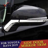 4 pçs abs chrome espelho retrovisor lateral capa decoração guarnições para toyota rav 4 acessórios do carro 2019 2020