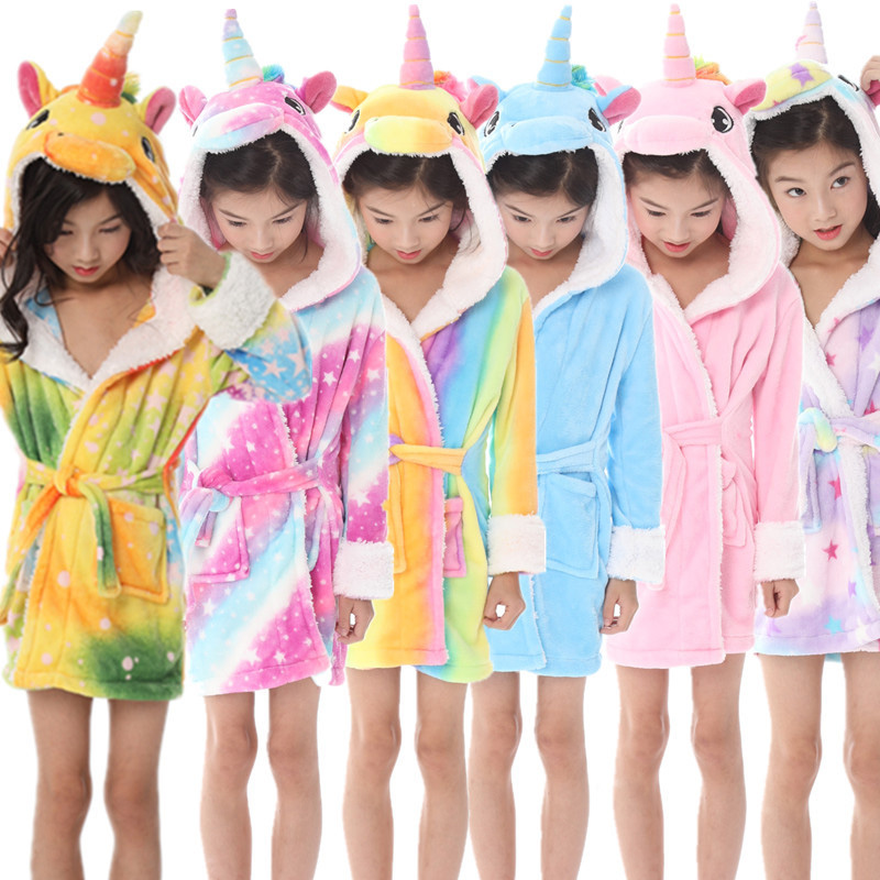 Cute Baby Bathrobes For Girls Pajamas Kids Hooded Rainbow Stars Unicorn Beach Towel Boys