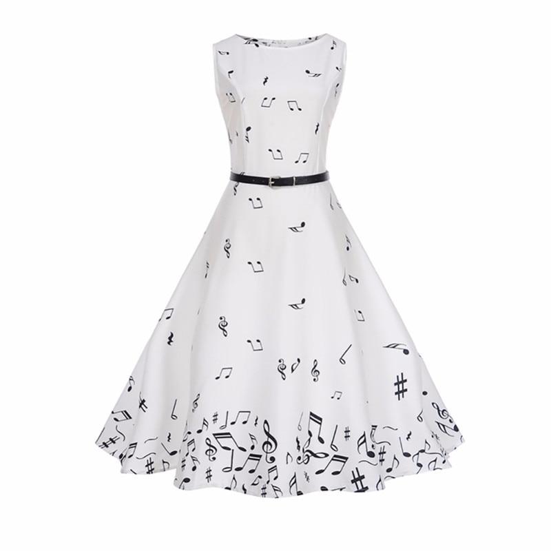 46164c9e05a Для женщин летние ноты Платье с принтом Одри Хепберн халат большие качели Высокая  талия Ретро Винтаж