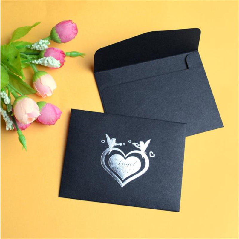 Coloffice 10PCs Korea DIY Greeting Card Retro Personality Black Gilding Envelope Featured Decorative Envelope Office School Gift