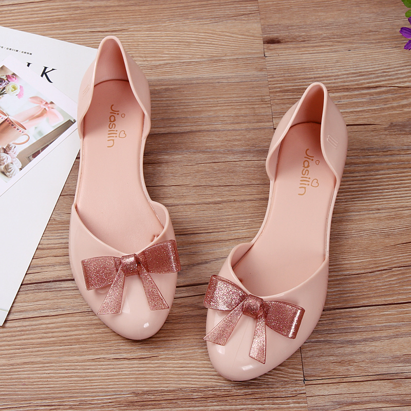 New female summer jelly shoes flat Bottom Butterfly knot korean version Baotou shallow plastic soft bottom waterproof in Women 39 s Sandals from Shoes