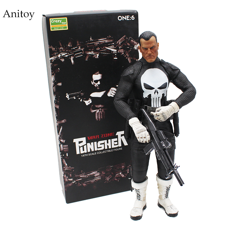 цена DC War Zone Crazy Toys Punisher 1/6 Scale PVC Action Figures Collectible Model Toys 29cm KT4227