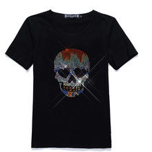Colorful Skull head iron on rhinestone appliques strass hot fix transfer motifs