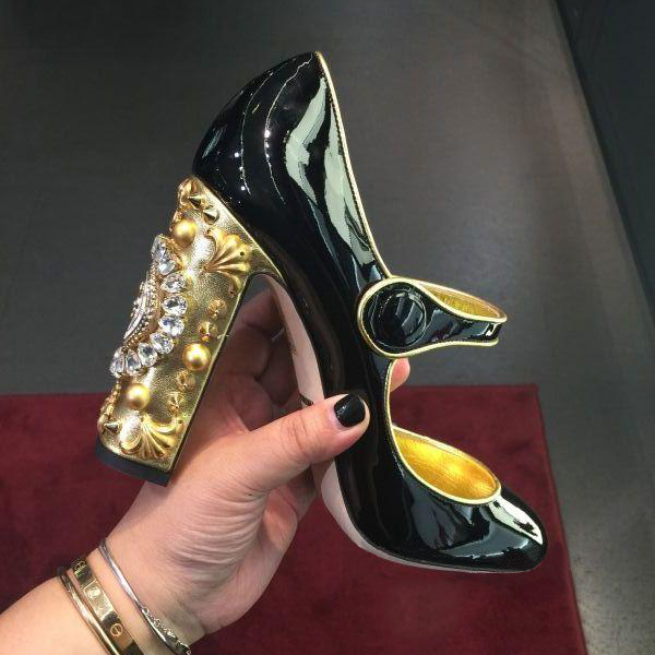 Spring Summer New Arrival Sweet  Lolita Mary Janes Patent Leather Woman Pumps Square Heel Crystal Embellished Clock Decoration