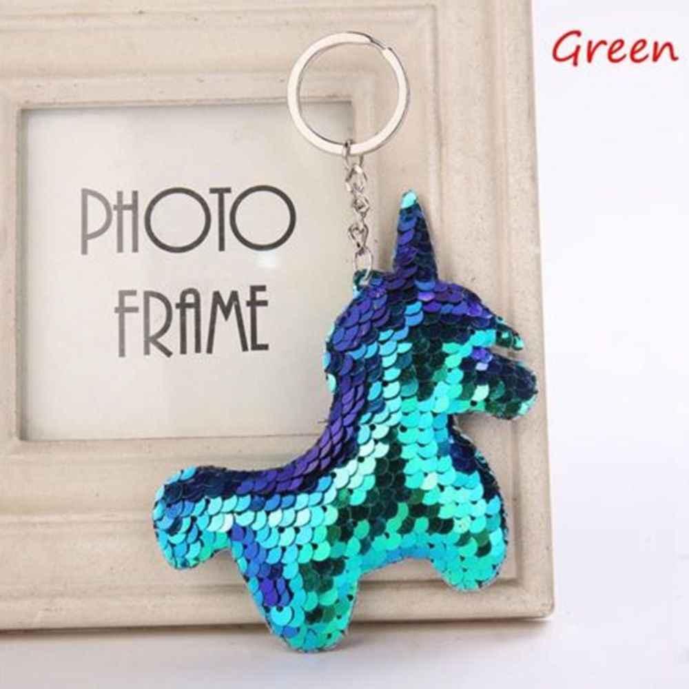 Симпатичные Блестящий Рог единорога брелок модная Русалка пайетки животное лошадь брелки для ключей для Для женщин автомобиля сумка Подвеска ювелирные изделия