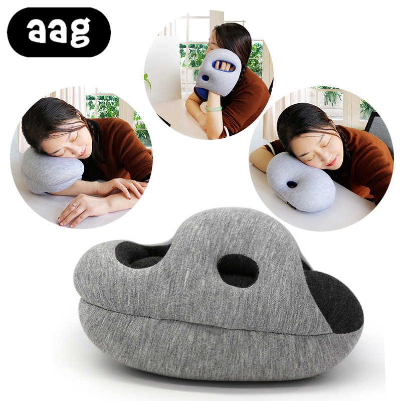 AAG Travel Pillow for Airplane Foam Hand Pillow Travel Accessories 4Colors Comfortable Pillows for Sleep Home Textile Foam Fill
