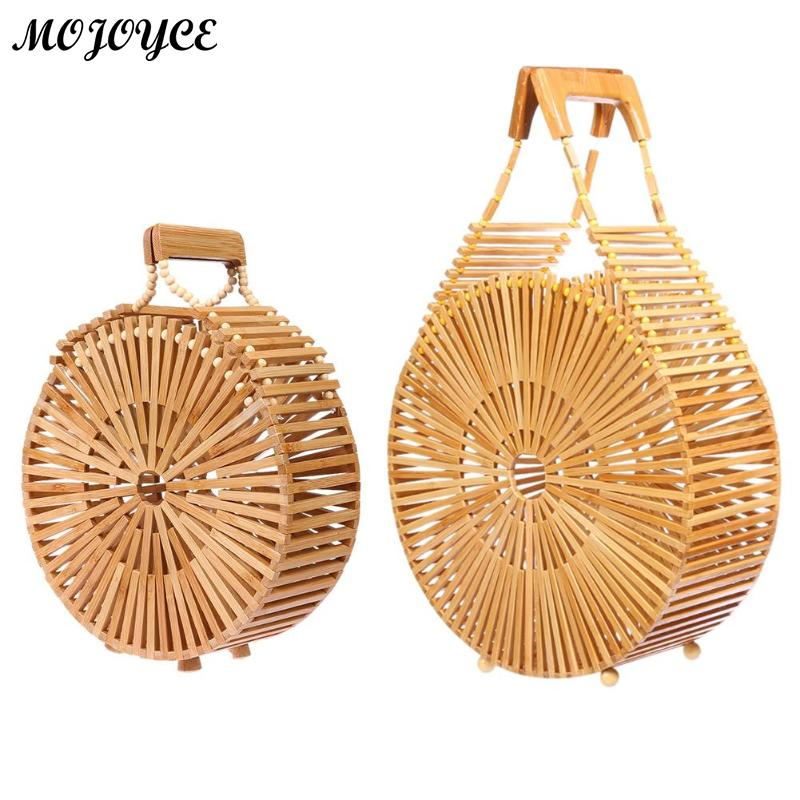 все цены на New Arrival Woven Bamboo Bag Women Handbag Hot Wicker Bag Hollow Out Beach Straw Shoulder Bags 2018 Ladies Wood Handbag Tote