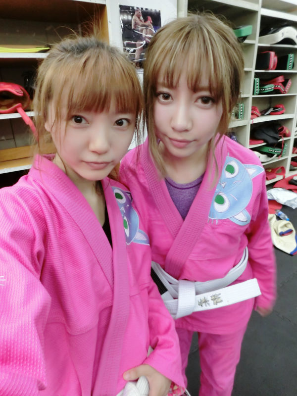 حمل و نقل رایگان Sunrise Fightwear BJJ GI Uniform Pink with embroidery Cat Jiu-Jitsu Gi Girl's MMA BJJ Gi Girl