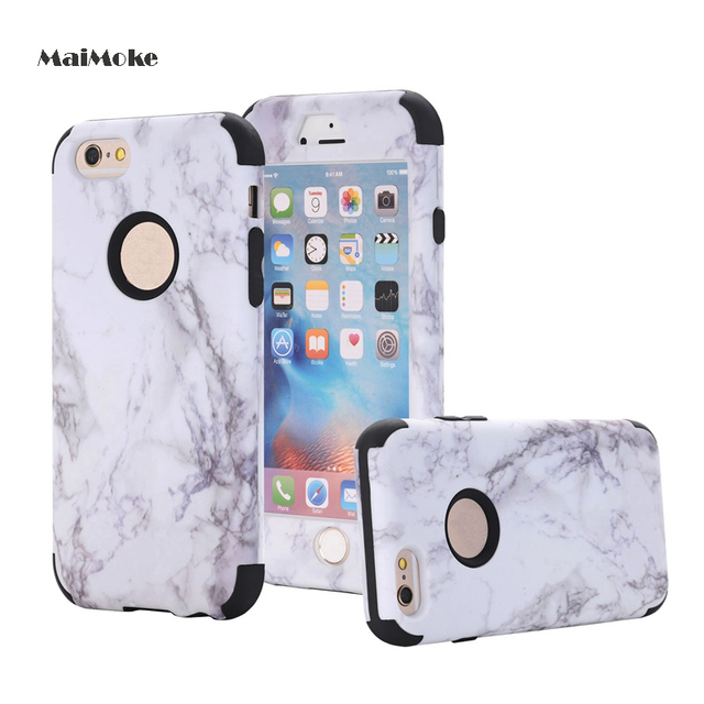 Marble Armor Case For Iphone 6 6s Hard Plastic 3 In 1 For