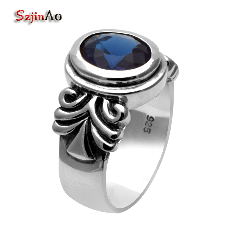 Szjnao fashion sapphrie ring high quality antique christmas gifts men women ring punk 925 sterling silver ringSzjnao fashion sapphrie ring high quality antique christmas gifts men women ring punk 925 sterling silver ring