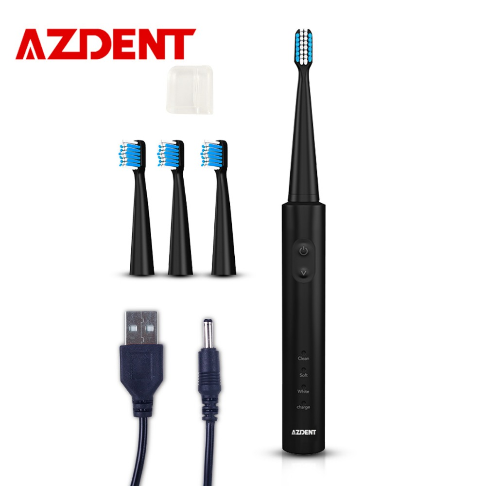 AZDENT Black Sonic Electric Toothbrush 3 Modes Multifunction USB Fast Charge Rechargeable Tooth Brush 2 Minuter Timer Waterproof image