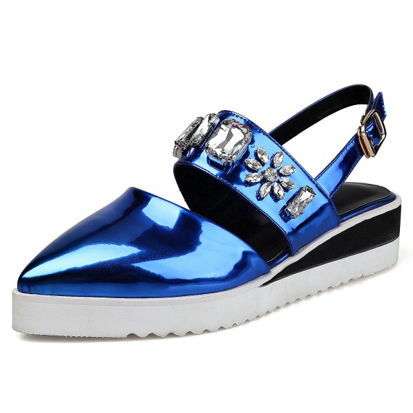 ФОТО (Blue, silver) 2017 Summer women's Classics Crystal decoration sandals Pointed Toe Wedges Heel Casual shoes for women