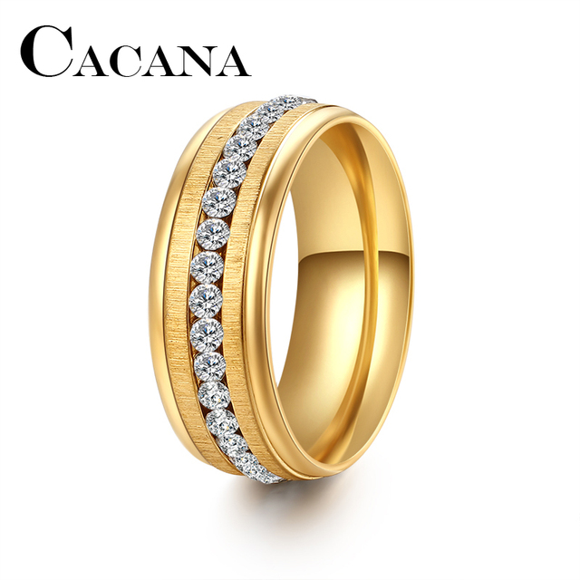 CACANA New Arrival 316L Stainless Steel Ring with crystal Fashion Steel Rings se