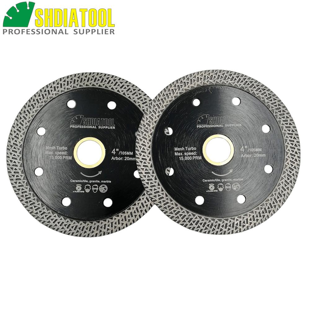 SHDIATOOL 2pcs Diamond Hot-pressed Sintered Cutting Disc Tile Mesh Turbo Blade Marble Cutting Wheel Multi Materials Saw Blade