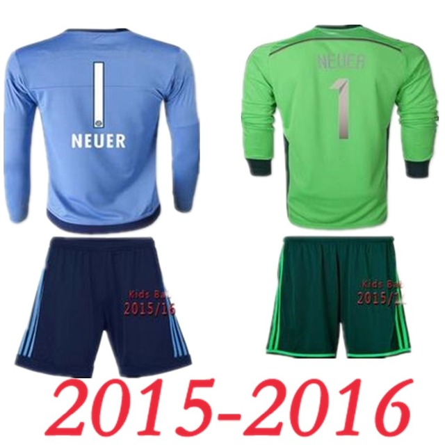 be640a2f8c6 2016 Manuel Neuer Kid Soccer jersey 2015 Germany Neuer Goalkeeper kids  football shirts MULLER RIBERY ROBBEN baby Childrens kits