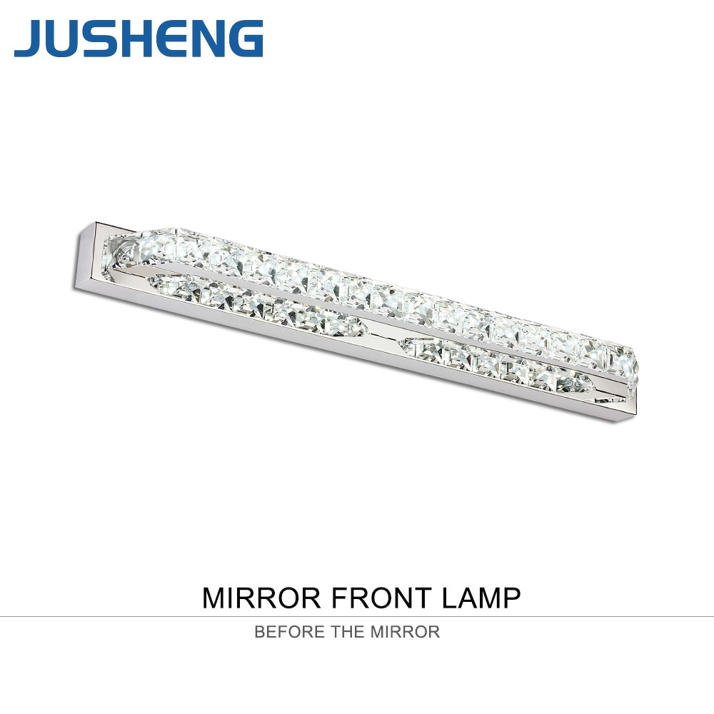 Crystal ledmirror light bubble crystal stainless steel bathroom mirror - Jusheng Luxurious Crystal Bathroom Wall Light 18w Led Mirror Light Fixtures Indoor 68cm Long 100