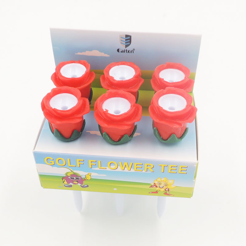 6Pcs/box Golf Flower Tee Rubber With Plastic  83mm Golf Ball Tee