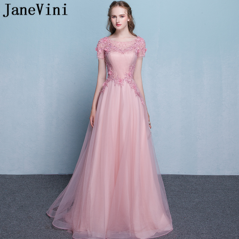 JaneVini Pink Long   Bridesmaid     Dresses   A Line Sheer Scoop Neck Hand Made Flowers Sequined Graceful Prom Gowns Vestidos Madrinha