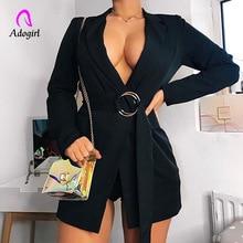 Adogirl Brief OL Solid Hidden Breasted Long Women Suits Blazer Feminino Jacket Office Ladies Pockets Business Sash Mujer