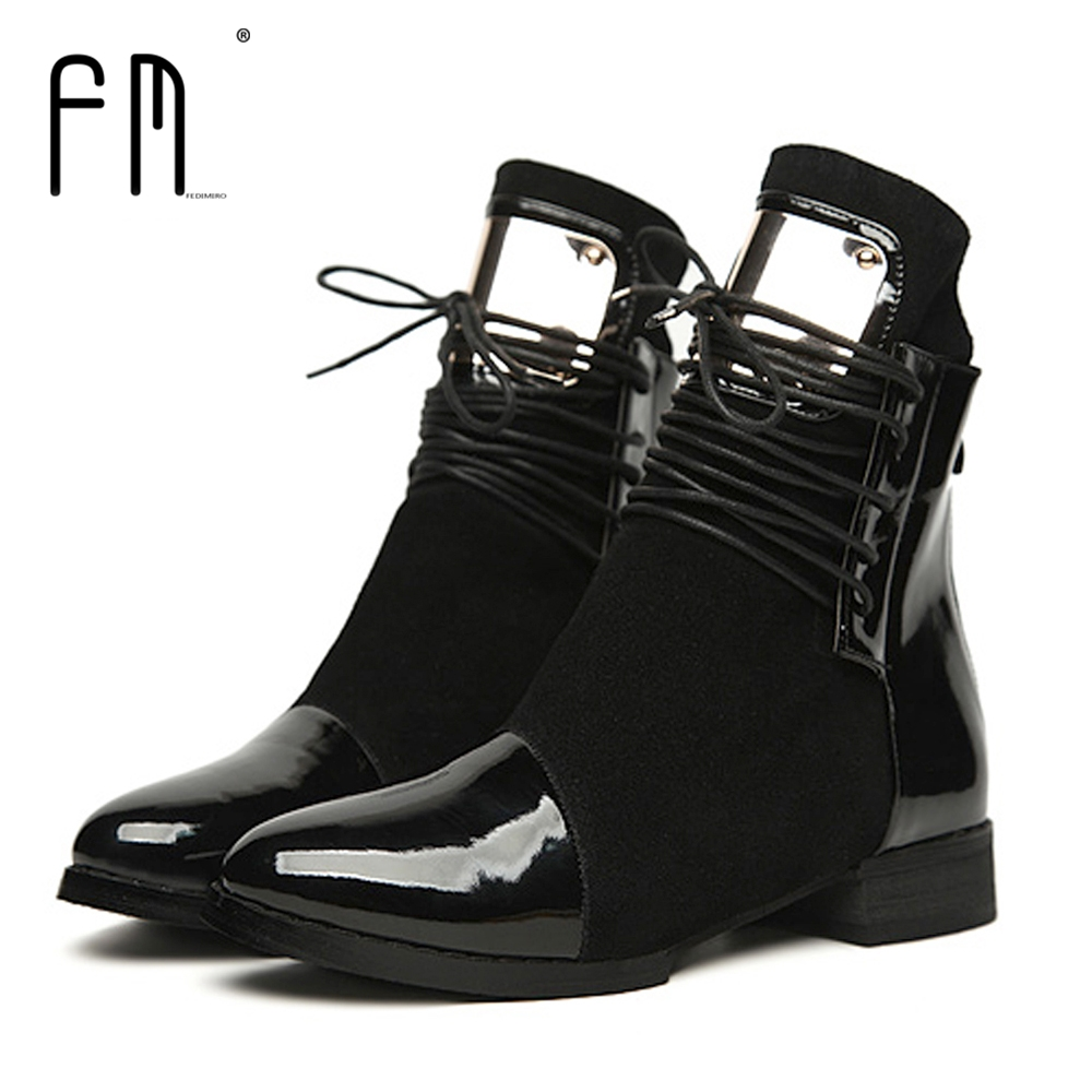 купить 36-43 Women Boots Genuine Leather Flat Martin Ankle Boots Womens Motorcycle Boots Autumn Shoes Women Winter Patent leather Botas недорого