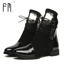 36-43 Для женщин Сапоги и ботинки для девочек полуботинки «Мартенс» со шнуровкой, на плоской подошве, из натуральной кожи женские мотоботы Осенняя обувь Зимние женские ботинки из лакированной кожи