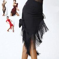 Fringe Latin Salsa Tango Rumba Cha Cha Ballroom Dance Dress Skirt Square Dance Red Black Latin