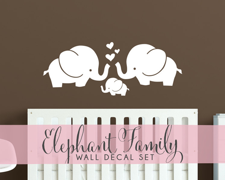 Cute elephant hearts family wall decals baby nursery decor for Room decor 5d stickers