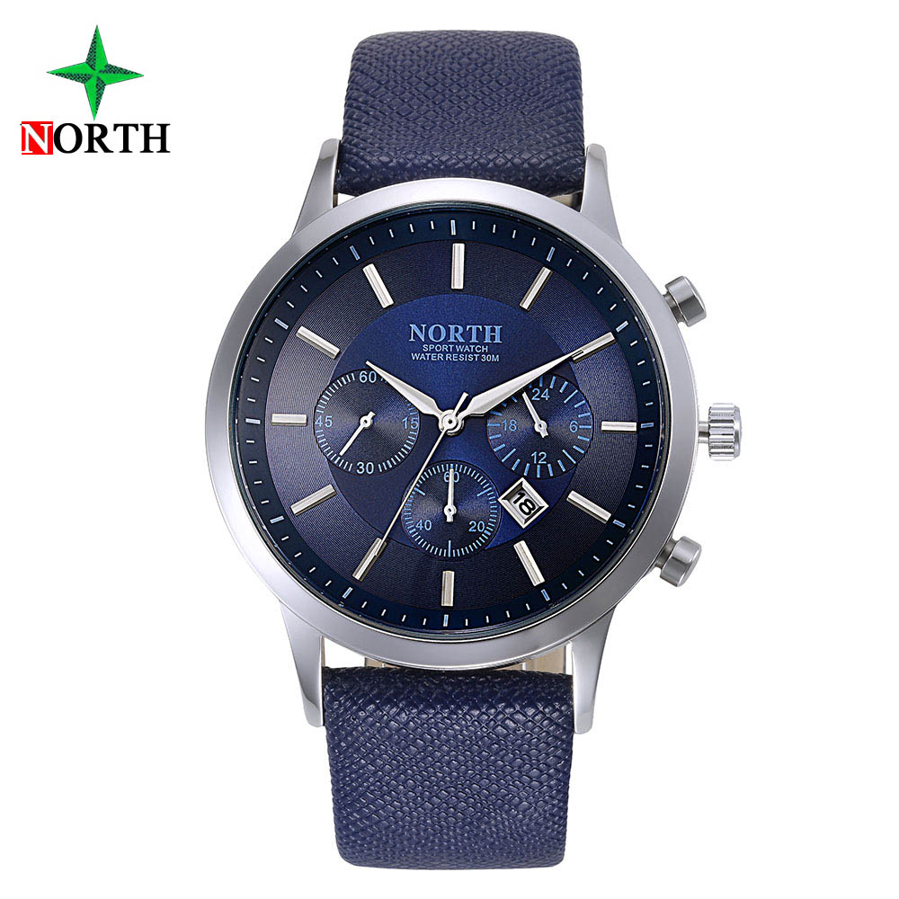 North Luxury Men Watch Waterproof Genuine Leather Fashion Casual Quartz Wristwatch Man's Business Watches Male Sport Clock Blue