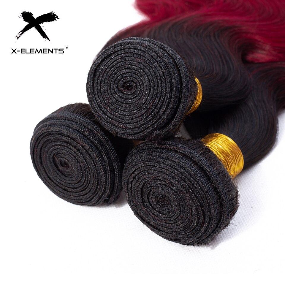 X-Elements Ombre Brazilian Body Wave Hair Bundles T1B Red T1B 30 T1B Burgundy Ombre Human Hair Extensions Two Tones Hair Weave Bundles (17)