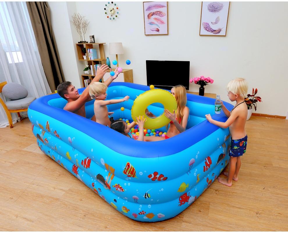 Inflatable Baby Swimming Pool Piscina Portable Outdoor Indoor Children Basin Bathtub Kids Baby Swimming Pool Water 210*145*55 cm