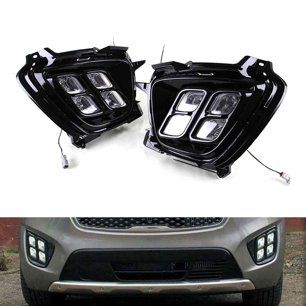 2Pcs/Set 4LED White Daytime Running Lights Sourse DRL Fog Lamp Decorative Accessories Assembly for Sorento 2015 2016 Car Styling high quality h3 led 20w led projector high power white car auto drl daytime running lights headlight fog lamp bulb dc12v