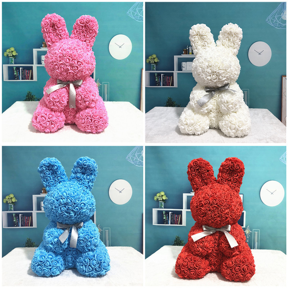 2019 New Arrival Cartoon Lovely Artificial Cartoon Lovely Artificial Foam Rabbit Shaped Toys Rose Flower Birthday Lover Day Gift