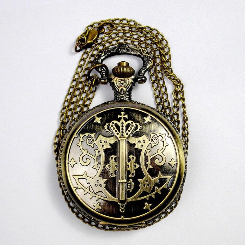 Men's And Women's Quartz Pocket Watch Vintage Bronze Pocket Fob Watch With Chain's Best Gift World Of Warcraft SkyrimWomen Men
