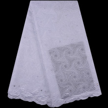 High Quality Swiss Voile Lace 2018 African Pure White Voile Cotton Lace Fabric with Stones Nigerian Style For Party Dress S1237