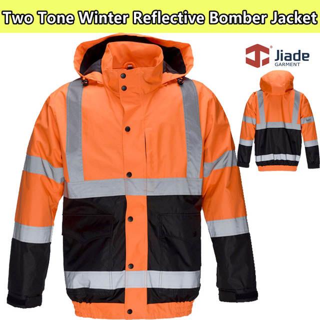 US $74.26 6% OFF Jiade herren winter bomber jacke berufsbekleidung orange jacke mit inneren softshell jacke winter reflektierende sicherheits