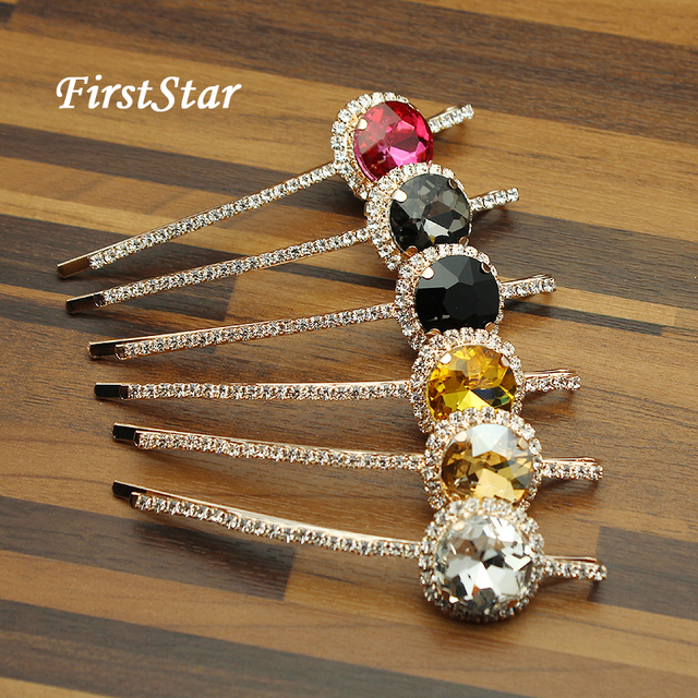 1 Pair FirstStar Luxury Hot Fashion Head Jewelry Round Rhinestone Hair  Barrette Pink Crystal Hair Clip Slide For Women Girls 235365b0bf97