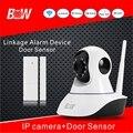 Visão Nocturna Câmera De Segurança de Rede Sem Fio + Sensor de Porta Alarme PnP Sistema Megapixel Full HD Câmera IP 3mp Vigilância BW02S