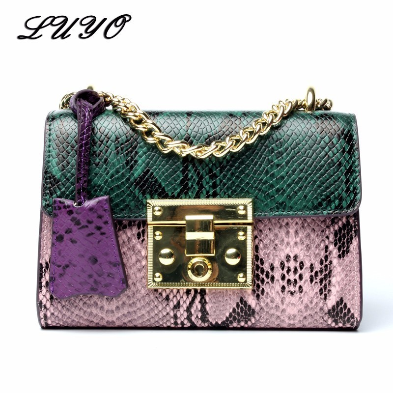 LUYO Genuine Leather Serpentine Chain Snakeskin Luxury Handbags Women Famous Brands Messenger Bags Cross Body For