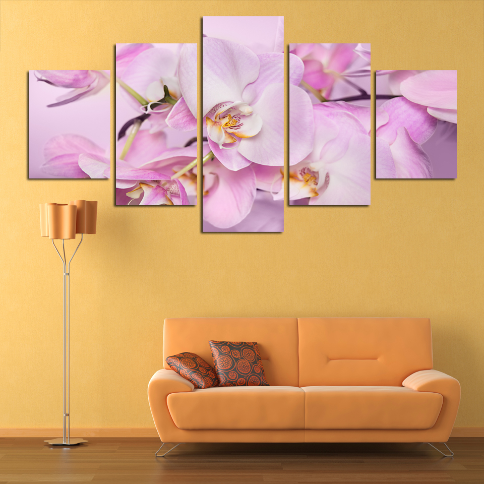 5 Piece Canvas Art Pink Flowers Wall Art Picture Modern Home ...