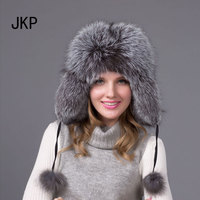 JKP 2018 Real fox fur hat men and women warm hat Winter Women Fur fashion cotton ball solid Cap HJL 04