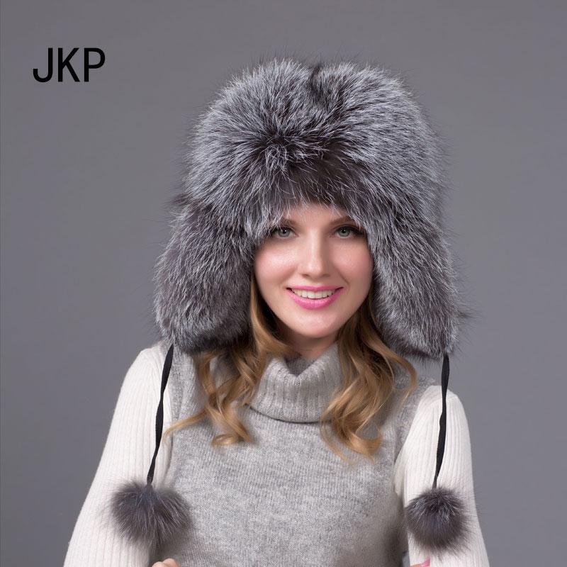 JKP 2018 Real fox fur hat men and women warm hat Winter Women Fur fashion cotton ball solid Cap HJL-04
